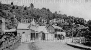 Street scene in Walhalla, Victoria, showing the bakery, circa 1930s.