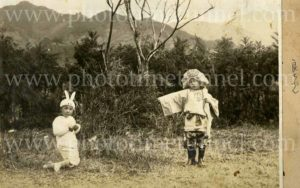 Japanese children playing in costumes, circa 1930s.