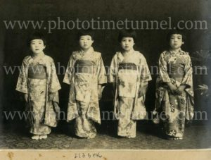 Four little Japanese girls in costume, circa 1930s.