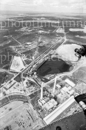Aerial view of Munmorah Power Station, Lake Macquarie, NSW, 1973.