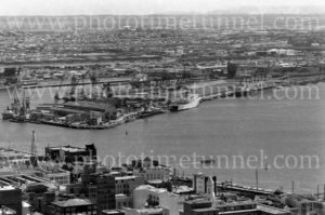 Aerial view of Newcastle Harbour, NSW, 1977.