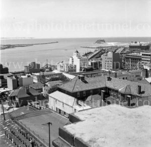 View from the roof of Christ Church Cathedral across Newcastle East to Nobbys, September 29, 1976.