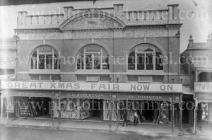 "Storefront of A.G. Robertson's ""Red Flag"" store in Lismore, NSW, c1910"