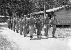 National Servicemen marching at mealtime at Gan Gan army camp, Port Stephens, NSW, February 28, 1960.