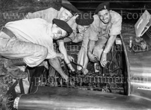 National servicemen working on trucks at Gan Gan army camp, Port Stephens, NSW, February 28, 1960. (2)