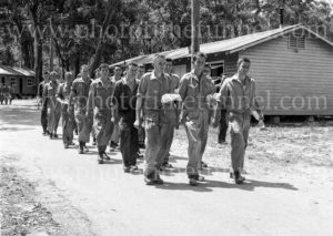 National Servicemen marching at mealtime at Gan Gan army camp, Port Stephens, NSW, February 28, 1960. (2)