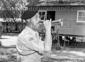 Bugler at Gan Gan army camp, Port Stephens, NSW, February 28, 1960.