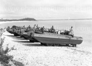 Amphibious vehicles at the water's edge at Gan Gan army camp, Port Stephens, NSW, February 28, 1960. (2)