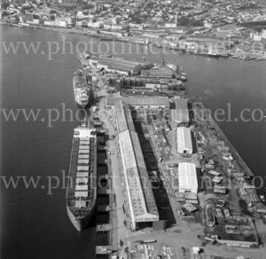 Aerial view of State Dockyard, Newcastle, NSW, 1974. (2)