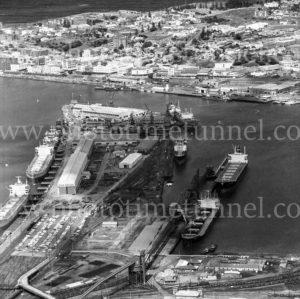 Aerial view of State Dockyard, Newcastle, NSW, 1974.