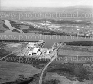 Aerial view of Carrington Slipways, Tomago, NSW, 1974. (2)
