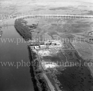 Aerial view of Carrington Slipways, Tomago, NSW, 1974.