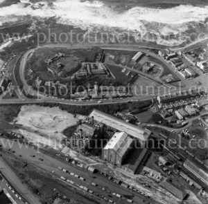 Aerial view of Zaara Street power station and Fort Scratchley, Newcastle, NSW, 1974.