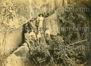 Australian tourists at Hinemoa Steps, New Zealand, c1910.