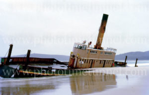 Wreck of vehicular ferry Koondooloo at Trial Bay, 1970s.