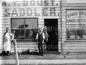Storefront of A.T. Doust's saddlery workshop in Lismore, NSW, c1910