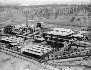 Aerial view of Newcastle Abattoir, NSW, circa 1930s.