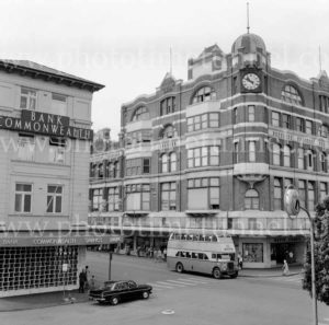 David Jones store, Hunter Street, Newcastle, with double-decker bus.
