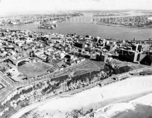 Aerial view of Newcastle, NSW, showing Watt Street Hospital and South Newcastle Beach, circa 1970s.