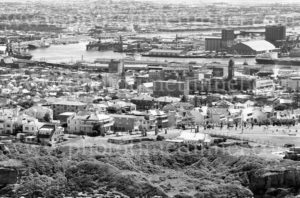 View of Newcastle, NSW, showing King Edward Park, The Terrace, City Hall and harbour, circa 1970.