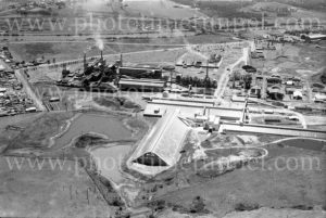 Aerial view of Sulphide Corporation's lead and zinc smelter at Cockle Creek, Lake Macquarie, NSW, 1977. (2)