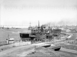"Ships Adelong and Echunga at ""the Dolphins"", Newcastle, NSW, circa 1940s."