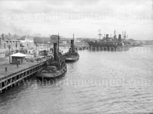 Tugs Heroine and Heroic in Newcastle Harbour, NSW, circa 1940s.