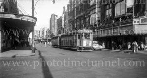 Tram at Scott's Corner, Hunter Street, Newcastle NSW, April 6, 1948.