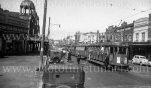 Tram in Hunter Street West, Newcastle NSW, April 6, 1948.