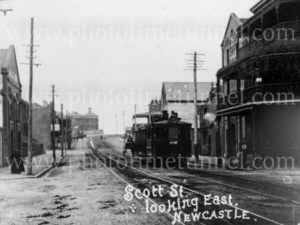Steam tram in Scott Street, Newcastle East NSW, circa 1910.