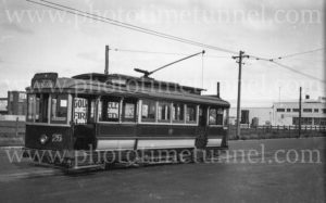 Tram at North Geelong terminus, Victoria, March 1940.