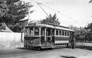 Tram in Hamilton Avenue, Ballarat, Victoria, 4-3-1948.