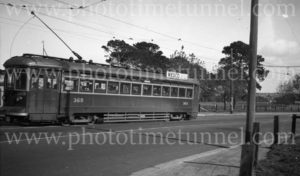 Tram in Glover Avenue, Adelaide, South Australia, 10-6-1947.