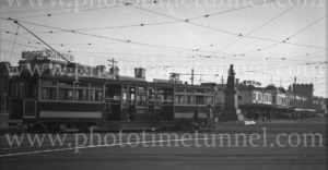 Tram in Victoria Square, Adelaide, South Australia, 13-6-1947.