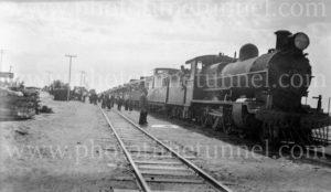 Silverton Tramway engine on Zinc Picnic train, Broken Hill, NSW, Christmas 1937.