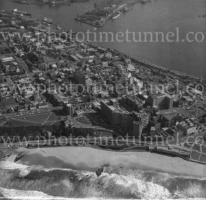 Aerial view of Newcastle, NSW, showing beach, Royal Newcastle Hospital and harbour, 1974. (3)