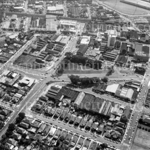 Aerial view of Birdwood Park and Newcastle West, NSW, 1974. (2)