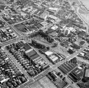 Aerial view of Birdwood Park and Newcastle West, NSW, 1974.