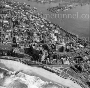 Aerial view of Newcastle, NSW, showing beach, Royal Newcastle Hospital and harbour, 1974. (2)