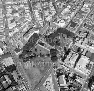Aerial view of Civic Precinct, Newcastle, NSW, 1974.