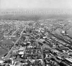 Aerial view of Cooks Hill and Newcastle West, NSW, 1974.