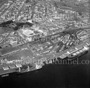 Aerial view of Lee Wharf, Honeysuckle and Civic precincts, Newcastle, NSW, 1974.