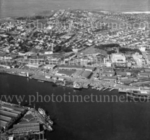 Aerial view of Honeysuckle and Civic precincts, Newcastle, NSW, 1974.