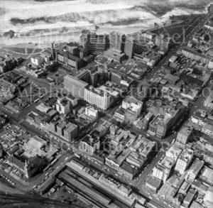 Aerial view of eastern CBD Newcastle, NSW, 1974.