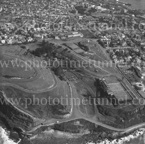 Aerial view of King Edward Park, Newcastle, NSW, 1974.