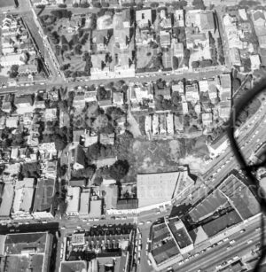 Aerial view of King Street and The Hill, Newcastle, NSW, 1974.