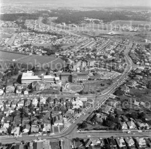 Aerial view of Mater Hospital, Waratah, Newcastle, NSW, 1974.