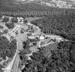Aerial view of Rankin Park Hospital, New Lambton Heights, Newcastle, NSW, 1974.