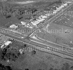 Aerial view of Sandgate Road and cemetery, Newcastle, NSW, 1974.
