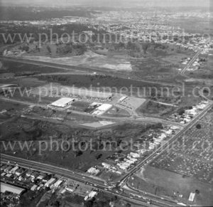 Aerial view of Sandgate Road and cemetery, Newcastle, NSW, 1974. (2)